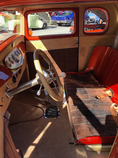 Mike built the Coupe's seat, his wife Sandye upholstered it.
