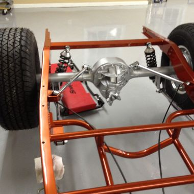 The four link coli over rear suspension holds a Ford 9 inch rear end.