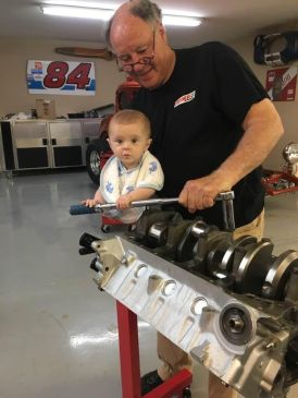 Mike's grandson Hampton helped out with the engine build.